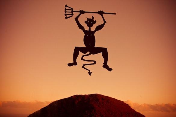 """""""El Diablo"""" statue, Cesar Manrique, the symbol of the Timanfaya Volcano, Lanzarote"""