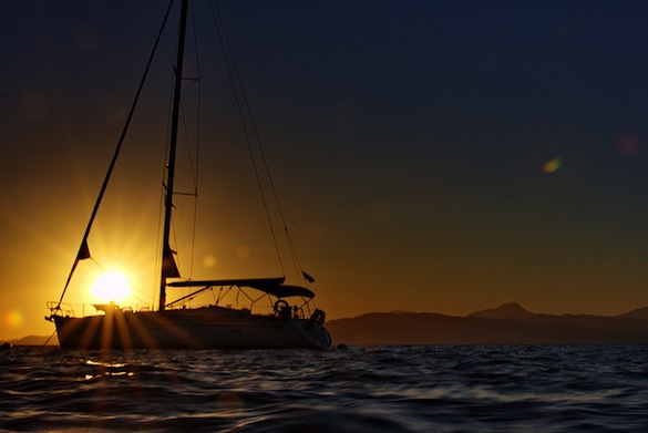 boat, sunset, Mallorca
