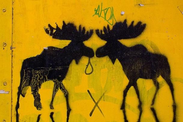 Smooching reindeers, or graffiti in Chueca, Madrid's gay neighborhood   uBookworm.