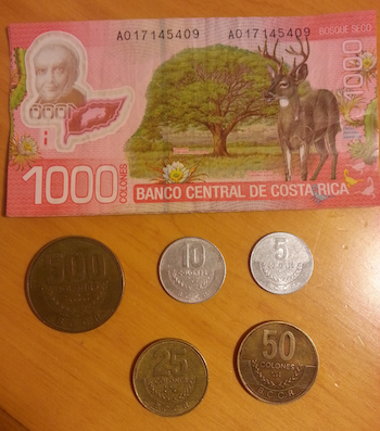 The Costa Rican currency: Colones. Each bill has a different color and different design on it.