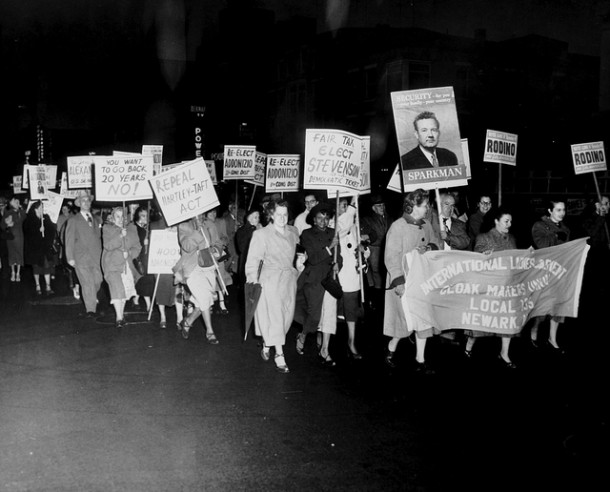 """""""Crowd Carrying Placards"""" 