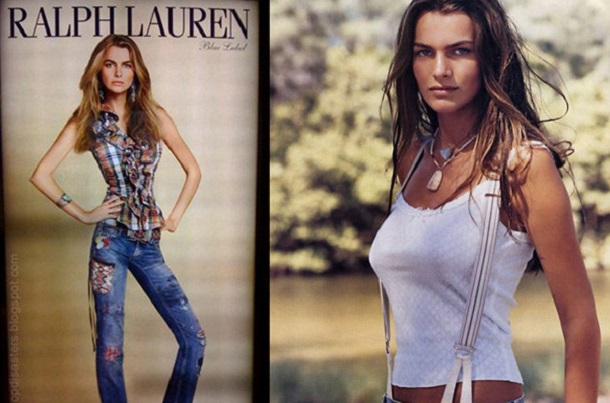 Controversial Ralph Lauren add that went viral because the model´s proportions were made to look unrealistic.