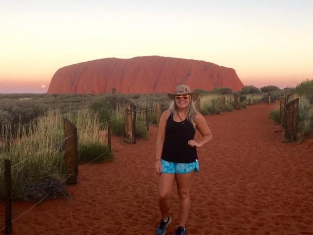 Lauren Melanson, who traveled Australia in spring 2016, in front of Uluru. | Lauren Melanson
