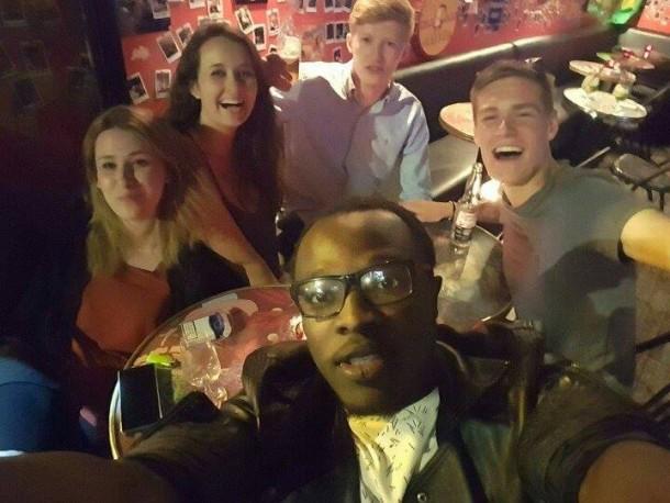Roberta Di Prima, left, enjoying a night out with new friends.   Roberta Di Prima