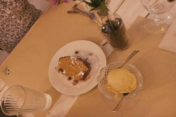 Pumpkin cake & mango sorbet   Julia Kramer