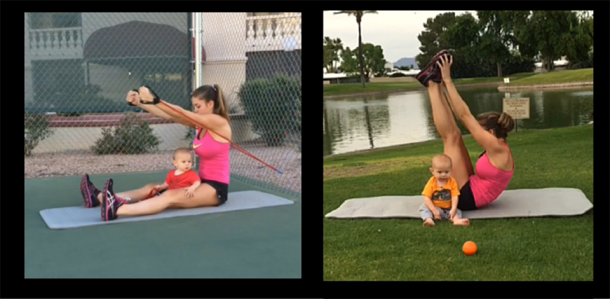 Kristy excercising with her son, Tucker   Baby Fit Gym Trainerize