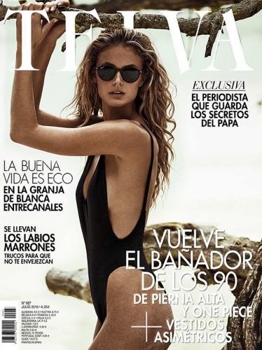 July 2016 Telva cover with Kate Bock trumpeting the return of the one-piece swimsuit