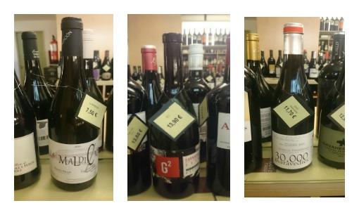 Madrid wines from Enoteca Barolo. Left to Right:  La Maldición 2015; G2 2015; Treinta Mil Maravedies 2015 ©Liva Nagle
