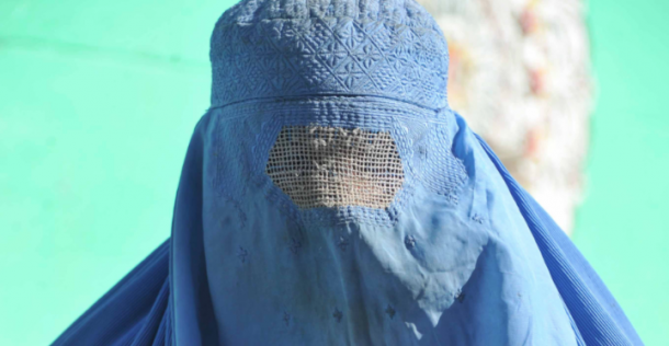 Blue burqa   Image via AFP