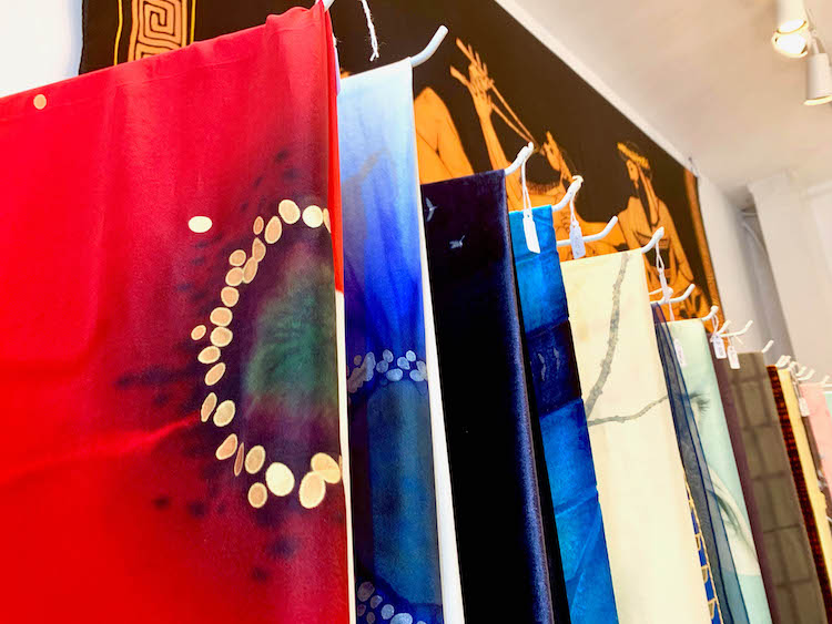 Silk painted scarves inside of Lola Fonseca, a handcrafted shop on Calle de Cervantes in Madrid, Spain, on July 24, 2019. | Bertha Smith