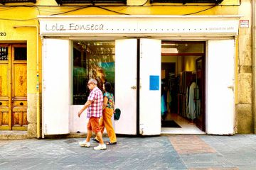 The storefront of Lola Fonseca, a shop that sells handcrafted custom designs by painting on silk on Calle de Cervantes in Madrid Spain, on July 24, 2019. | Bertha Smith